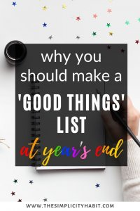 'good things' list at the end of the year